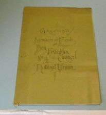 1888 Ben Franklin Council No. 72 National Union 4th Anniversary Program Chicago