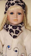 "Ashley Belle Porcelain China Doll blonde hair animal print 20"""