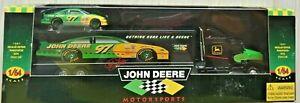 JOHN DEERE MOTORSPORTS 97 TRANSPORTER TRACTOR TRAILER DIE CAST 1/64 NEW