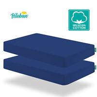 "Cotton Waterproof Baby Crib Mattress Sheets Ultra Soft 2 Pack 52""x28"" Navy Blue"