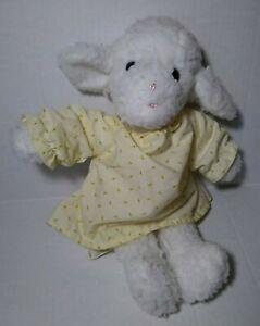 "Vintage Eden White Baby Lamb Plush Yellow Dress 13"" Stuffed Soft Toy Sherpa"