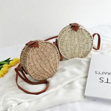 1pc Cane grass woven shoulder bag straw straw small round beach travel handbag