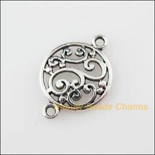 10 New Charms Flower Round Tibetan Silver Tone Pendants Connectors 14x20.5mm