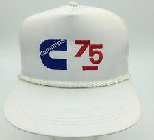 Vintage Cummins 75 Engine White Embroidered Rope Front Snapback Hat