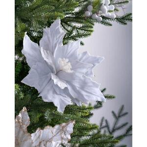 Artificial Poinsettia Christmas Tree Flower Decoration White 32 cm
