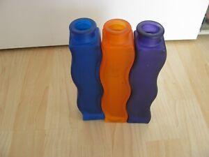 3 x IKEA SKÄMT VASE - WELLENFORM - blau - orange - lila