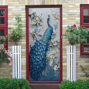 3D peacock Self-Adhesive Living Room Door Murals Wall Sticker Photo