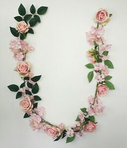SHABBY CHIC PINK ROSE GARLAND PRETTY HANGING FLOWER 6ft WEDDING STRING BEDROOM