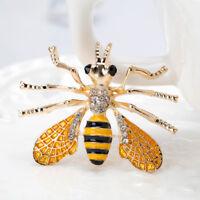 Pretty Women Rhinestone Bee Insect Metal Brooch Lapel Pin Fashion Jewelry Gift