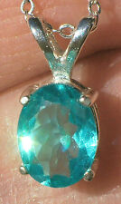 1.1ct Natural Paraiba Blue APATITE 8x6mm .925 Sterling Silver Pendant Necklace