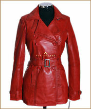 Ladies Leather Trench Coat Red Wax Soft Lambskin Leather Hip Length Coat Jacket