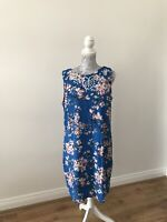 M & Co Blue Sleeveless Floral Print Embellished Shift Dress  - Size UK 16