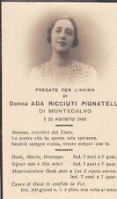MONTECALVO: Santino funebre donna Agata Ricciuti Pignatelli    1940
