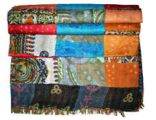 Handmade Silk Patchwork Kantha Quilt King Bed cover Blanket Bedspread India #5