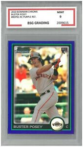 2010 Bowman Chrome BUSTER POSEY #BDP61 RC Rookie Purple Reflective ~ BSG 9