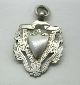 Edwardian Solid Silver Large Shield Fob / Pendant