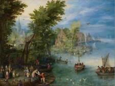 Jan Brueghel Elder flamenca Río Paisaje Pintura Arte Antiguo Cartel BB5789B