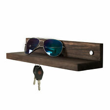 Dark Brown Wood 14-Inch Wall Mounted Floating Shelf with 3 Magnetic Key Holders