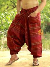 Men Women Pocket Maroon Striped Harem Pants Yoga Trouser Hippie Drop Crotch Pant