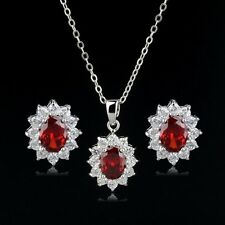 18K WHITE GOLD PLATED GENUINE CUBIC ZIRCONIA RUBY RED NECKLACE & EARRING SET