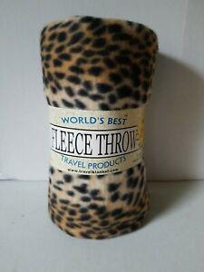 "50""×60"" Ultra Soft Leopard Print Fleece Throw/Travel Blanket New"