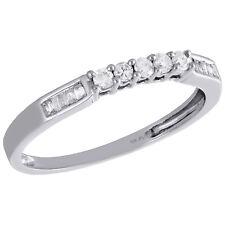 10K White Gold Round & Baguette Diamond Wedding Band 5 Stone Womens Ring 1/6 CT