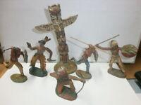 Konvolut 5 alte Hausser Elastolin Massefiguren zu 7.5cm Wildwest Indianer Totem