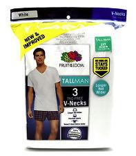 3 White Tall Man 2XT 50-52 Inch V-Neck T-Shirts Fruit Of The Loom 127-132 CM