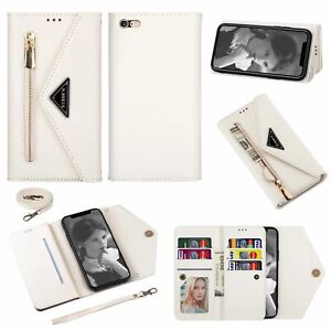 For iPhone 12 Pro Max 11 XS XR 7 8Plus Zipper Wallet Leather Case Cover Lanyard