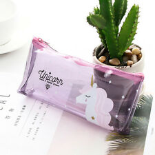 Lovely Clear Jelly Unicorn Pencil/Pen Case Stationery Bag Cosmetic Makeup Pouch