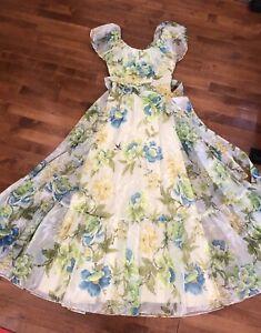Vtg 70s Yellow Chiffon Dress Country Prairie Floral Off Shoulder Maxi XXS