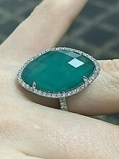 Doves 18k White Gold Green Agate White Topaz Diamond Cocktail Ring Size 6.5