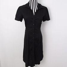 H&M Black Button Front Stretch Short Sleeved Shirt Dress Size 12