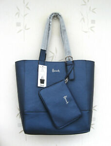 Harrods Large Navy/Black (Reversible) Tote Bag with seperate purse/bag New