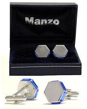 New Men's Cufflinks Cuff Link Rhinestone Formal Wedding hexagon Royal Blue # 22
