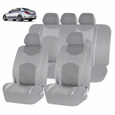 ALL GRAY HONEYCOMB MESH AIRBAG READY SPLIT BENCH SEAT COVERS SET FOR CARS 1243