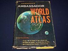 1960 HAMMOND'S AMBASSADOR WORLD ATLAS - GREAT COLOR MAPS - CITY MAPS - KD 2728