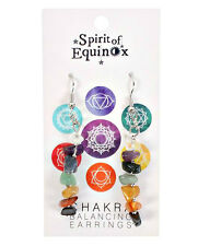 Hermoso equilibrio de siete chakra de color Chip desplegable pendientes-Reiki