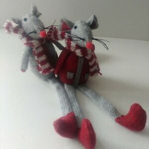 2 x dangly leg MOUSE sitting CHRISTMAS DECORATION felt fabric NEW from CoCo&Ned