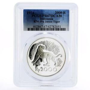 Indonesia 2000 Rupiah Javan Tiger PR67 PCGS proof silver coin 1974