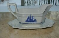 """WEDGWOOD American Clipper  Gravy Boat Attached Under-plate """"Game Cock 1850 Boat"""""""
