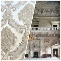 SALE! Designer Brocade Satin Fabric - Taupe Ivory Floral Upholstery Damask