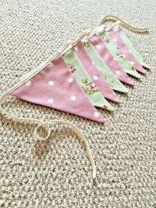 Handmade Rose Pink and Sage Bunting, Rustic Country Style Farmhouse, Vintage