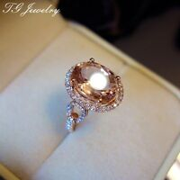 Solid 14K Rose Gold 4.5ct Genuine Morganite Pave Moissanite Lady Engagement Ring