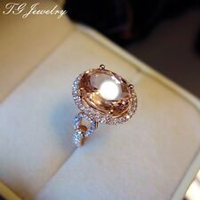 Solid 14K Rose Gold 4.5ct Genuine Morganite Pave Moissanite Lady Engagement Ring
