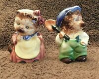Set of Vintage Otagiri Mr.&Mrs Whiskers Japan Hand Painted Hats very Colorful