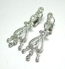 """750 18K White Gold and Diamond Pierced Earrings 5.7 grams 1 1/2"""""""