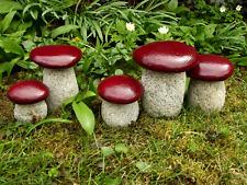 Pilze aus Granit, Gartenpilze Set 5St. Gartendeco Naturstein