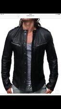 Men's ALL SAINTS REBELL Black Leather Biker Jacket Size L RRP £295 - Slim Fit