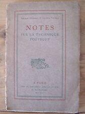 Notes sur la Technique Poétique - Duhamel et Vildrac - 1909 - Dédicacé